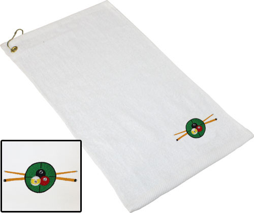Ozone Billiards In The Crosshairs Towel - White - Free Personalization