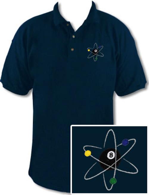 Ozone Billiards Atomic 8 Ball Navy Polo Shirt - Free Personalization