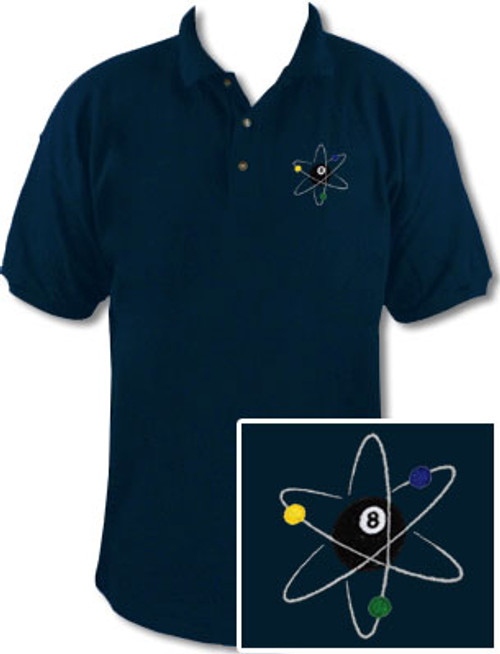 Ozone Billiards Atomic 8 Ball Navy Polo Shirt - Free Personalization
