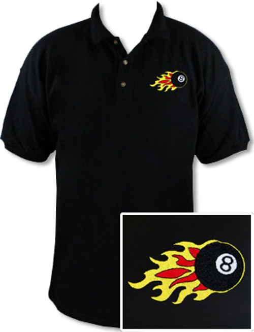 Ozone Billiards 8 Ball Flames Polo Shirt - Black - Free Personalization