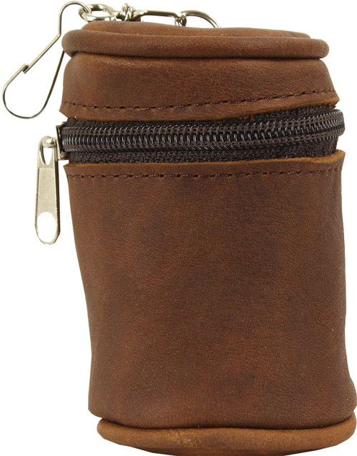 Castillo Leather Cue Ball Case - Textured Brown Cue Ball Holder