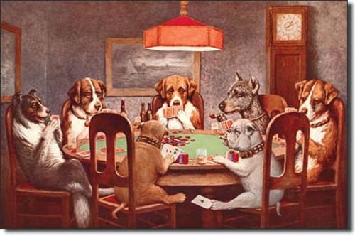 7 Dogs Playing Poker Metal Sign