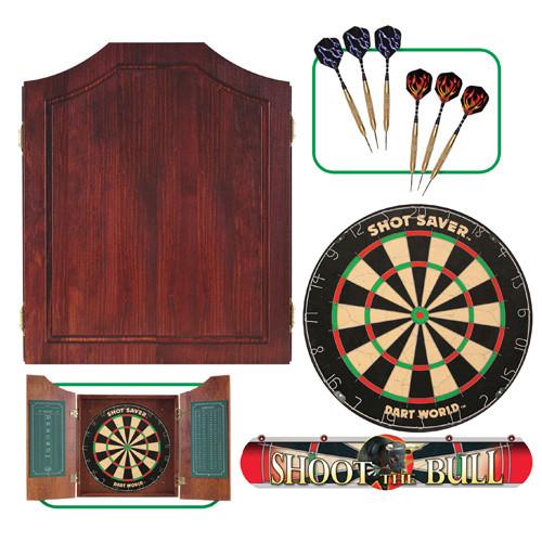 Mahogany Dartboard Cabinet Set