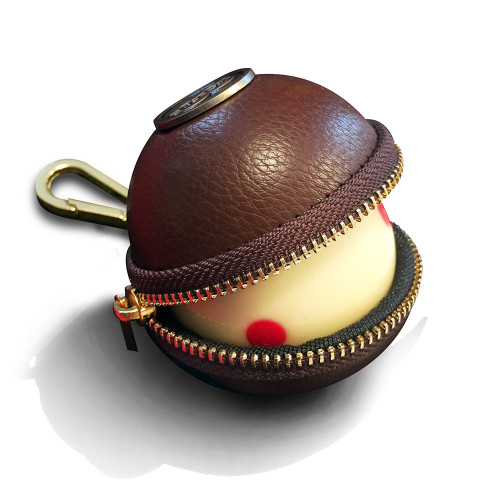 Ballsak Cue Ball Case Pro Series Brown and Brass
