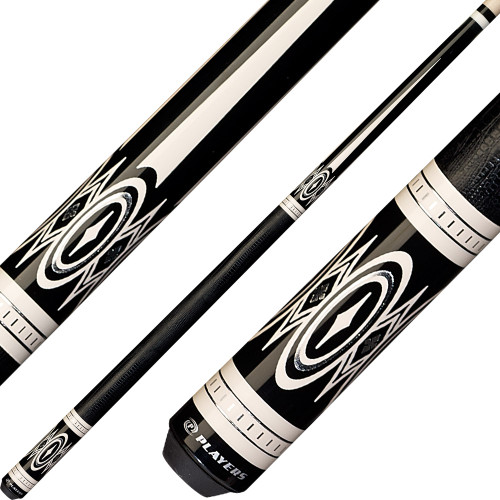 Players Cue Black with White and Silver Points