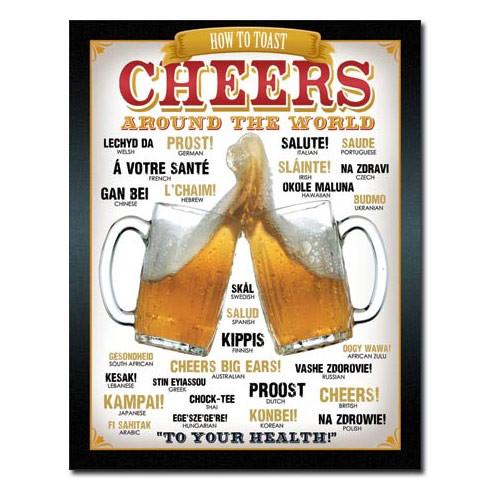 Cheers Around The World Metal Sign