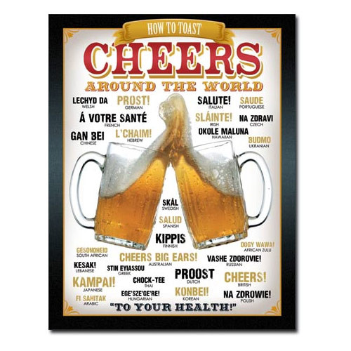 Cheers Around The World Metal Sign