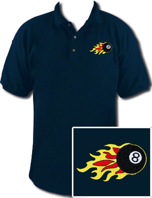 Ozone Billiards 8 Ball Flames Polo Shirt - Navy - Free Personalization