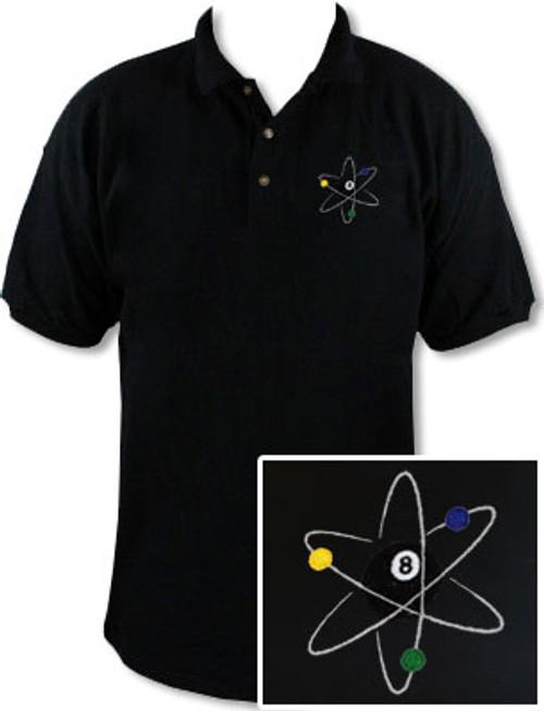 Ozone Billiards Atomic 8 Ball Black Polo Shirt - Free Personalization