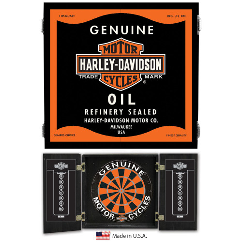 Harley Davidson Oil Can Dartboard Cabinet