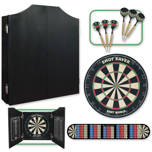 Black Dartboard Cabinet Set