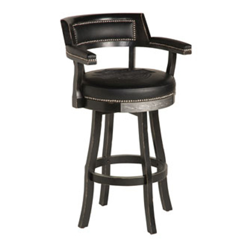Harley Davidson Backrest Bar Stool - Vintage Black Finish