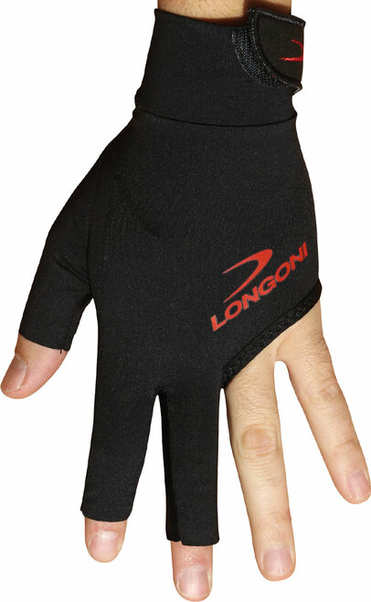 Longoni Billiard Glove Black Fire 2.0  Left Bridge Hand Medium