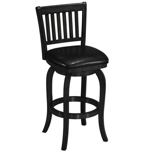 Ram Gameroom Wood Bar Stool Slatted Back Black
