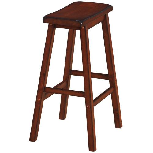 Ram Gameroom Wood Bar Stool Saddle Seat Chestnut