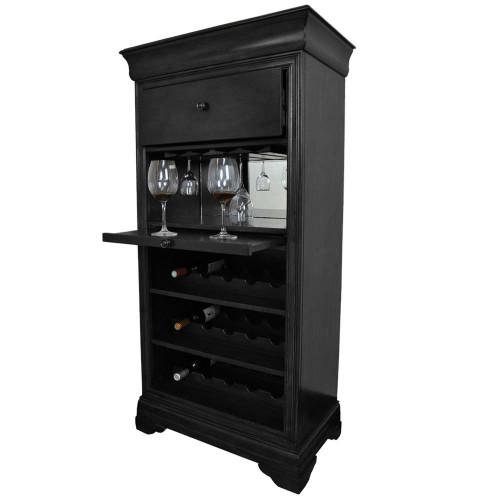 Ram Gameroom Bar Cabinet with Wine Rack Black