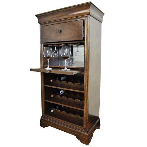 Ram Gameroom Bar Cabinet with Wine Rack Chestnut