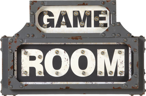 Game Room Lighted Metal Sign
