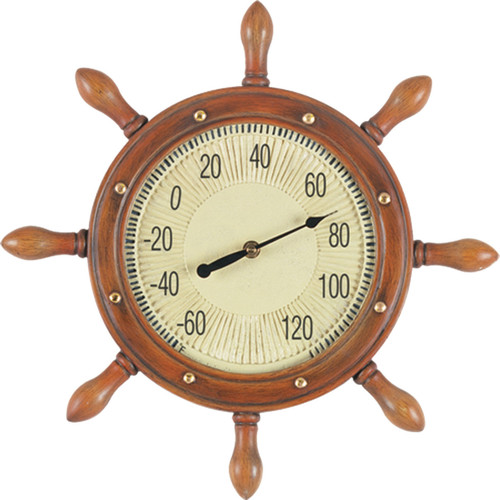 """Outdoor Captains Wheel Thermometer Sign 16"""""""