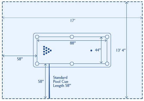 Blueprints with dimensions for pool table placement.