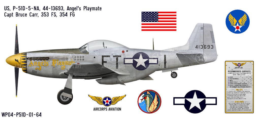 "P-51D Mustang ""Angels' Playmate"", Lt. Bruce Carr, 353rd Fighter Squadron, 354th Fighter Group Decorative Vinyl Decal"