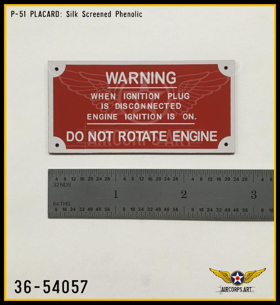 P/N 36-54057 - PLATE - IGNITION PLUG WARNING