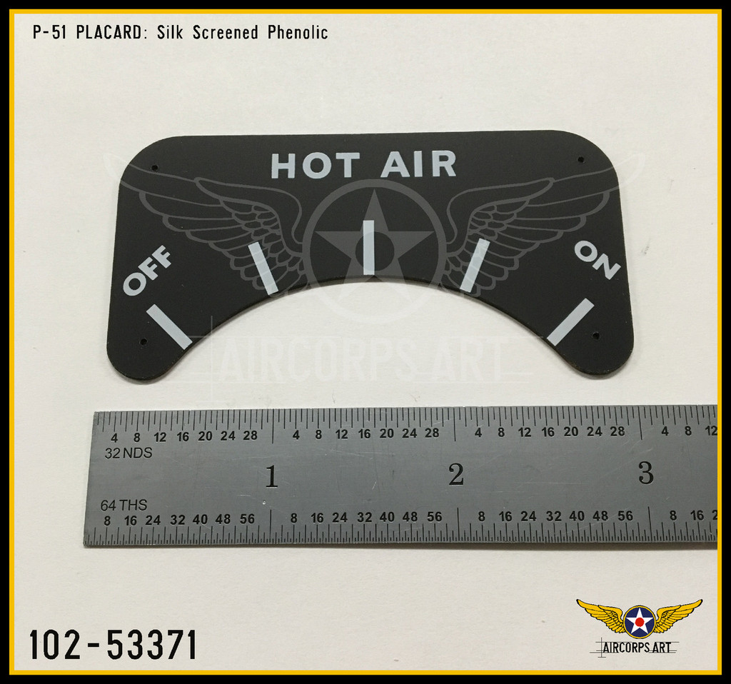 P/N - 102-53371 - PLATE - HEAT & VENT SYSTEM HOT AIR CONTROL NAME