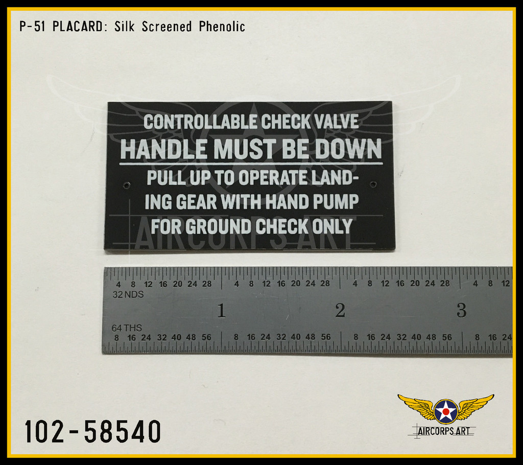 P/N - 102-58540 - PLATE - HYDRAULIC CONTROLLABLE CHECK VALVE INSTRUCTION
