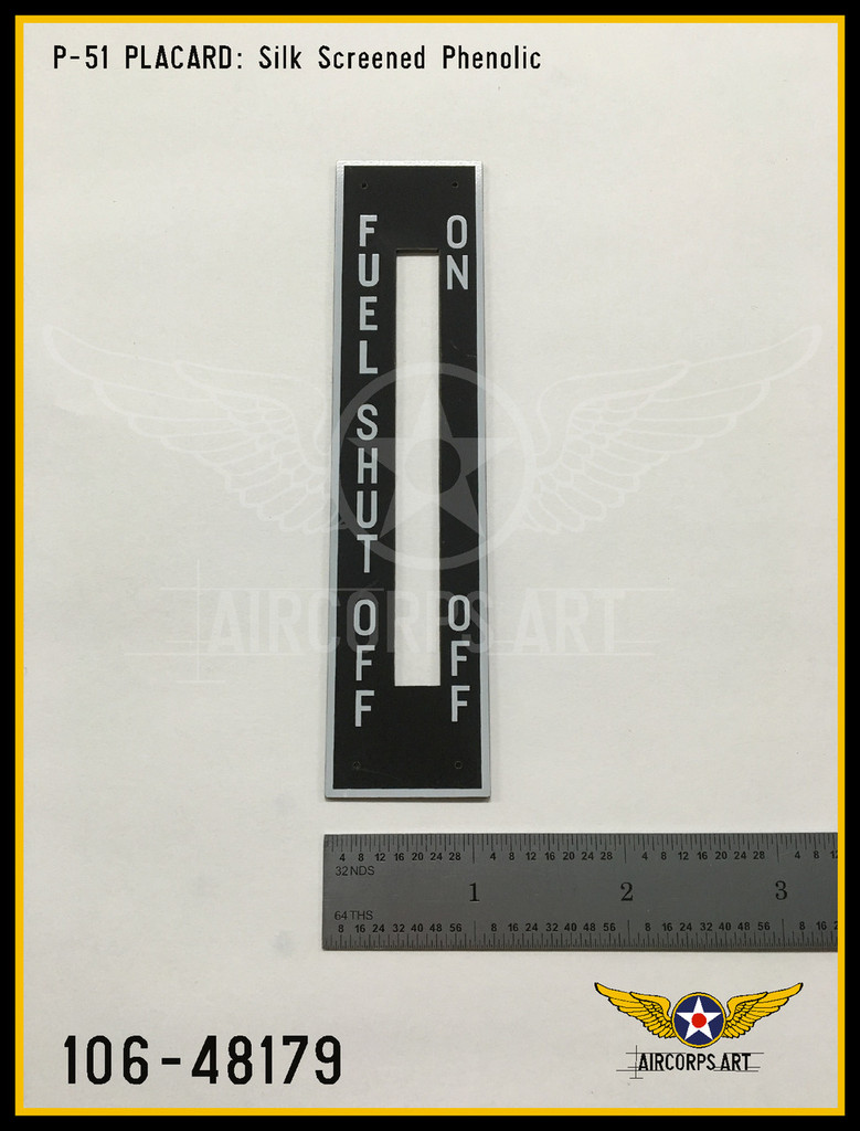 P/N - 106-48179 - PLATE - FUEL SHUT OFF CONTROL INSTRUCTIONS