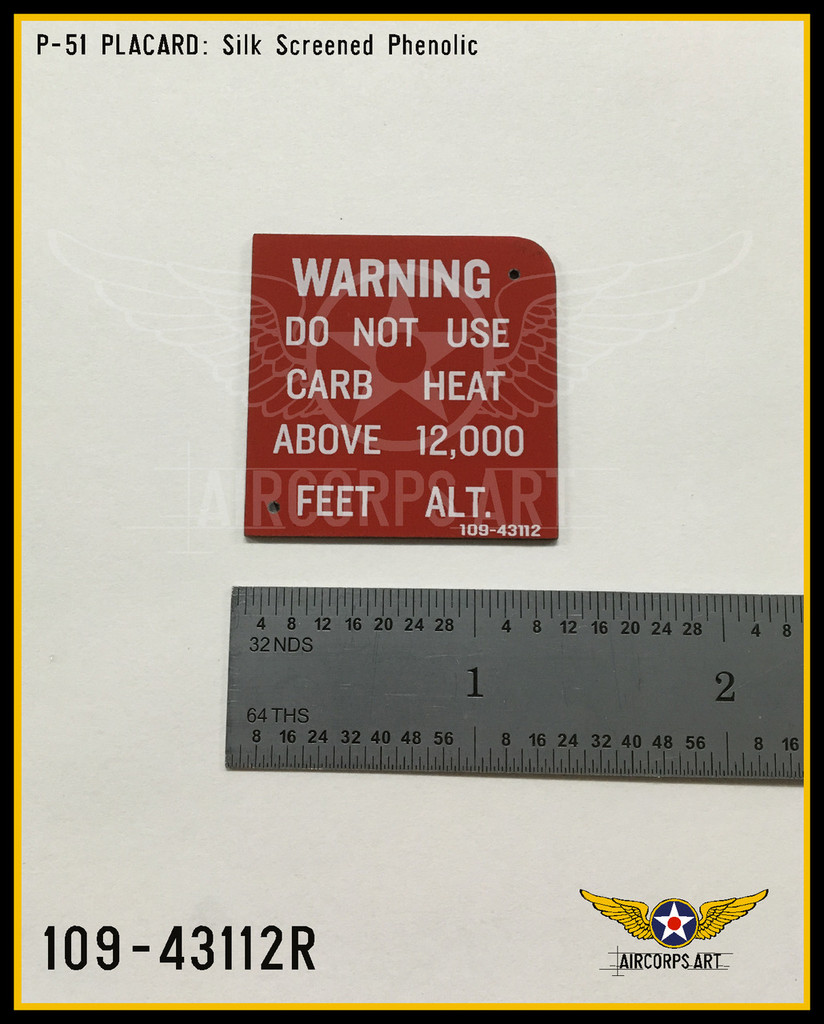 P/N - 109-43112 - PLACARD - CARB HOT AIR CONTROL SYSTEM WARNING - RED