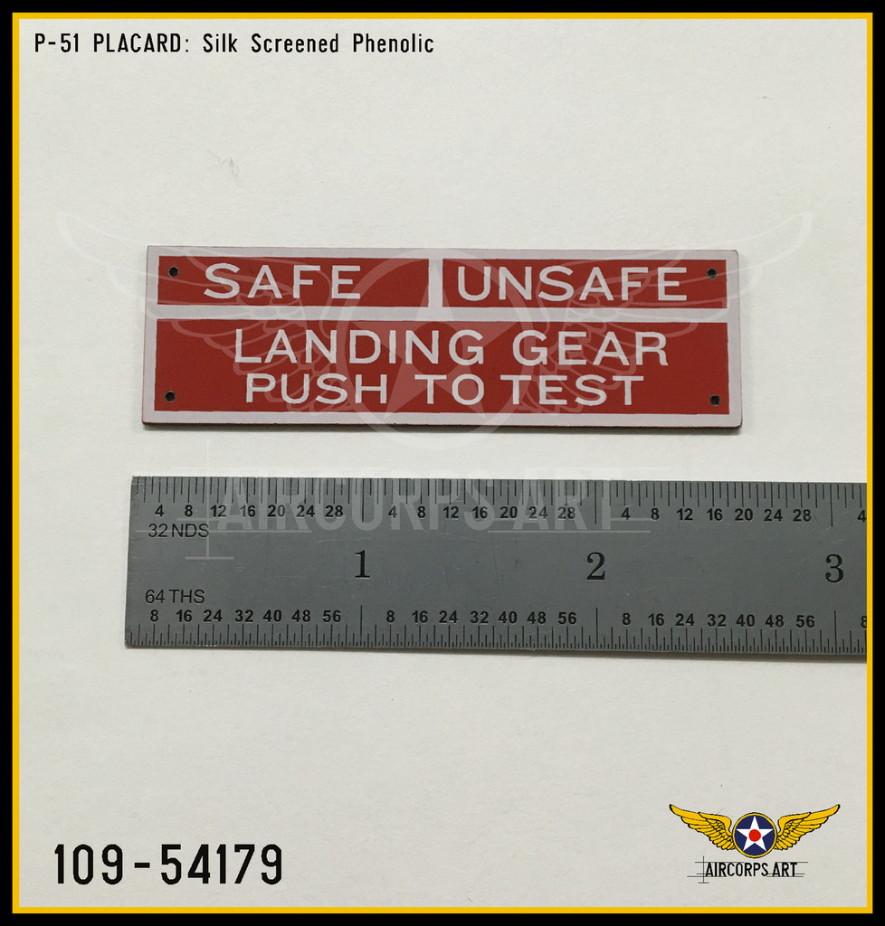 P/N - 109-54179 - PLATE - LANDING GEAR WARNING LIGHT - IDENTIFICATION