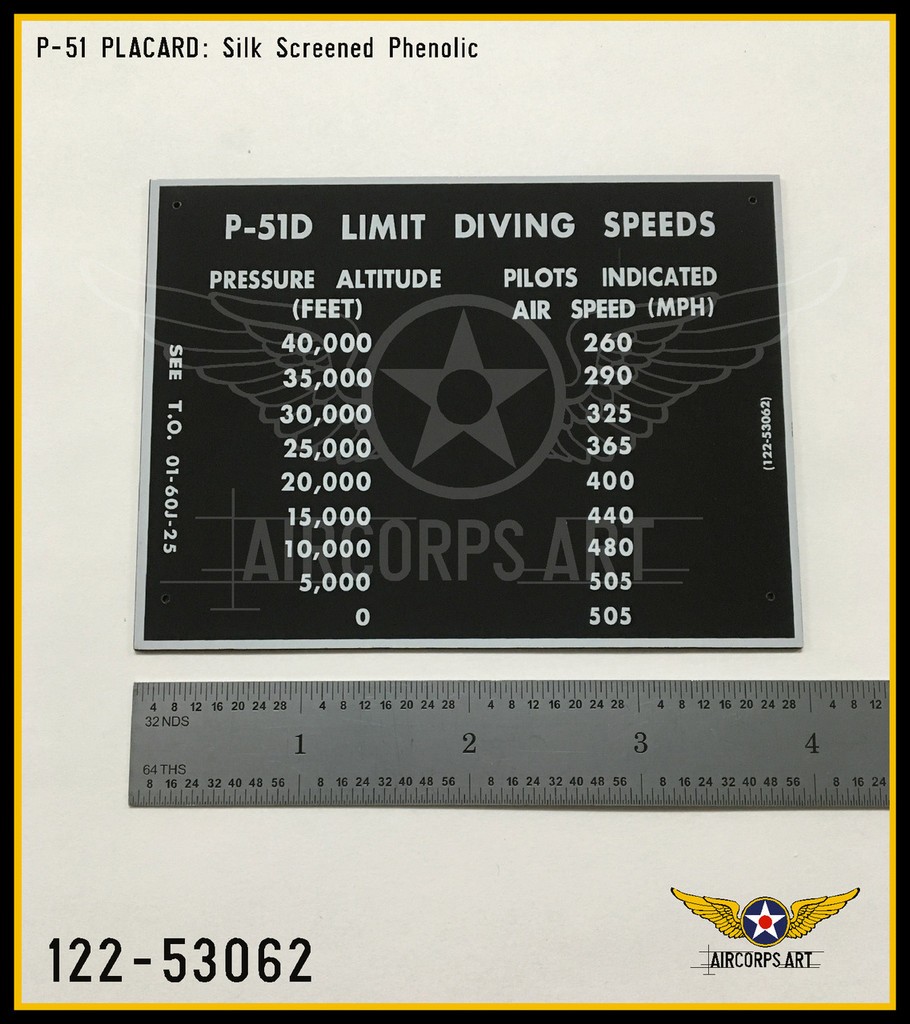 P/N - 122-53062 - PLATE - DIVING SPEED LIMITATION