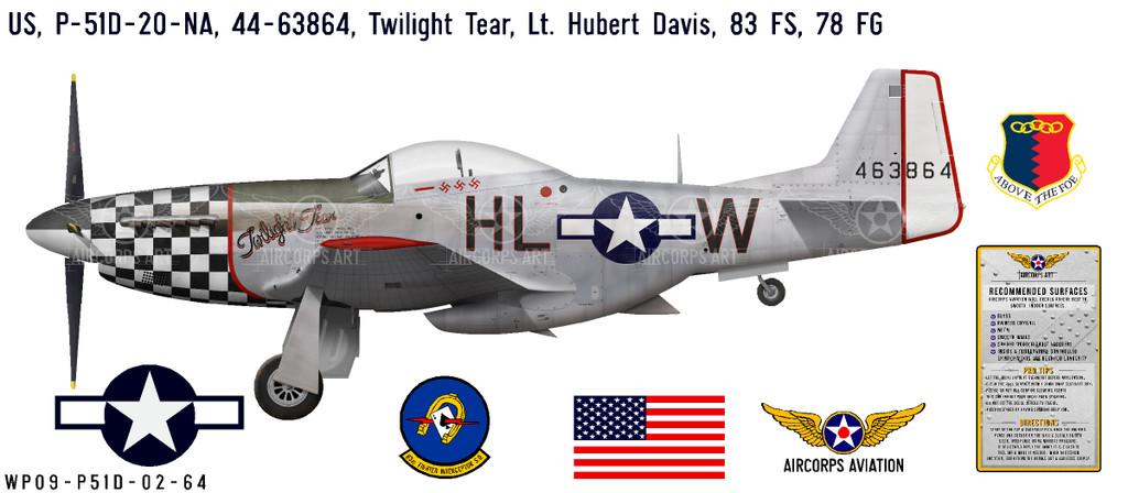 "P-51D Mustang ""Twilight Tear"" Decorative Vinyl Decal"