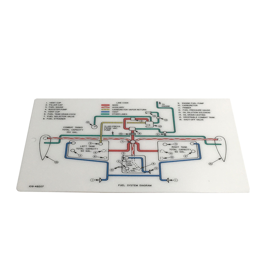 109-48207 Fuel System Diagram Data Card Full Color - P-51 Mustang