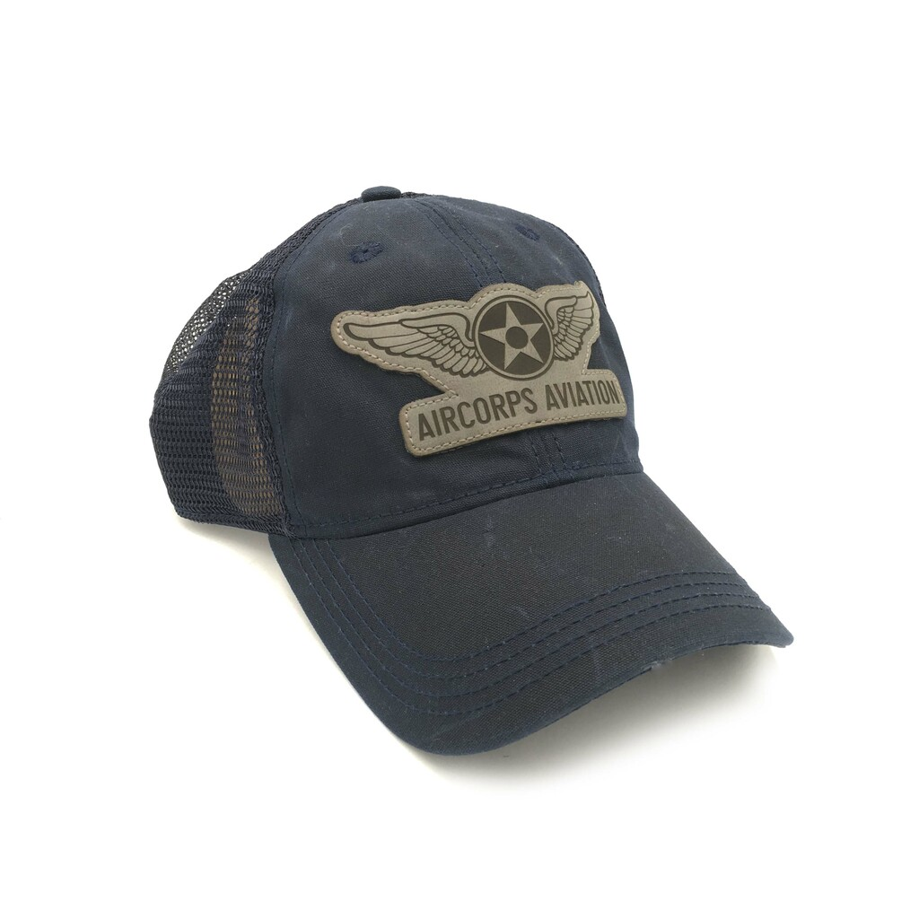 Waxed Cotton Navy Cap w/Grey Leather Patch
