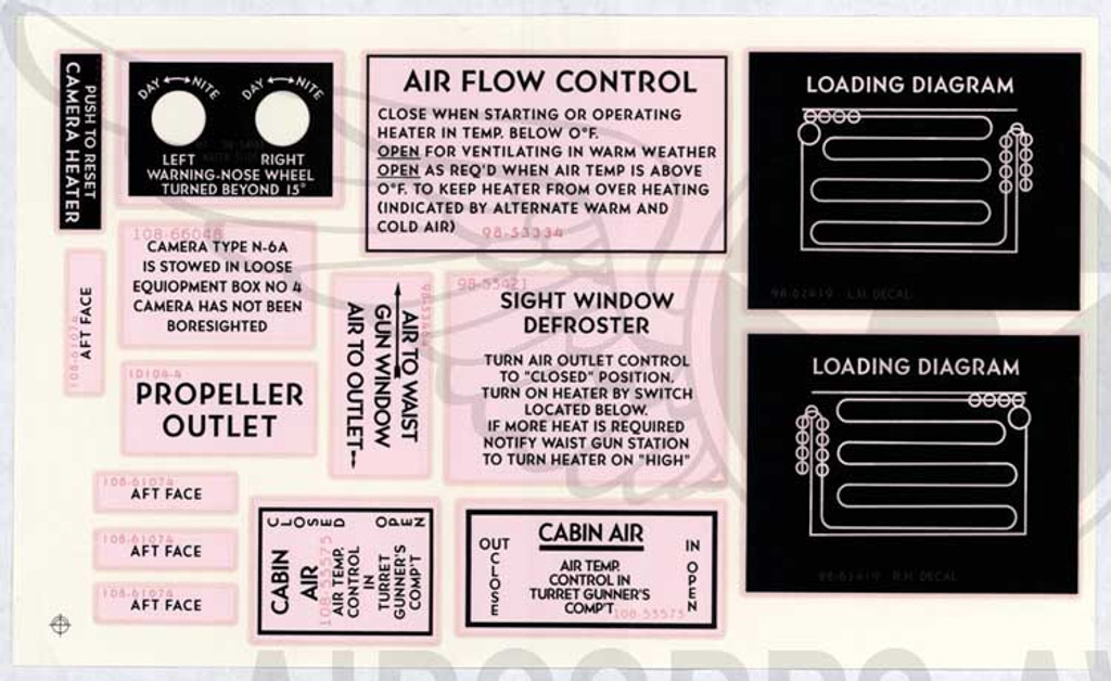 B-25 Water Transfer Decals - Interior and Exterior Markings