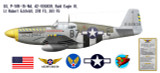 """P-51B Mustang """"Bald Eagle III"""", Lt Robert Eckfeld, 374th Fighter Squadron, 361st Fighter Group, 1944 Decorative Vinyl Decal"""