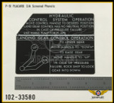 P/N - 102-33580 - PLATE - HYDRAULIC AND LANDING GEAR CONTROL INSTRUCTION