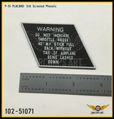 P/N - 102-51071 - NAMEPLATE - MANIFOLD RESTRICTION