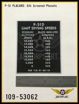 P/N - 109-53062 - PLATE - DIVING SPEED LIMITATION