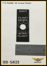 P/N - 109-54129 - PLATE - GUNSIGHT FILAMENT SELECTOR NAME