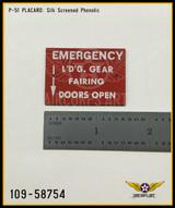 P/N - 109-58754 - PLATE - HYDRAULIC FAIRING DOOR EMERGENCY LOWERING INSTRUCTIONS