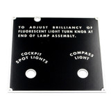 74-78123 BT-13 Plate - Rear Electrical Panel Name Placard
