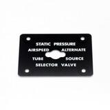 Static Pressure Selector Valve Placard