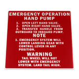 87-33-569 P-40 NAMEPLATE INST. EMERGENCY HYD. SYSTEM