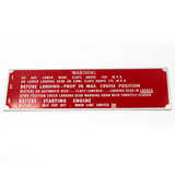 87-91-518 P-40 NAME PLATE LANDING WARNING INSTRUMENT PANEL