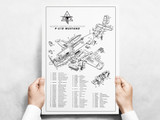 P-51D Mustang Major Assemblies Poster - Exploded View