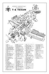 T-6 Texan Major Assemblies Poster - Exploded View