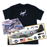 "P-51C Mustang ""Lope's Hope 3rd"" Pilots Edition T-Shirt, Book, and Print Combo Package"
