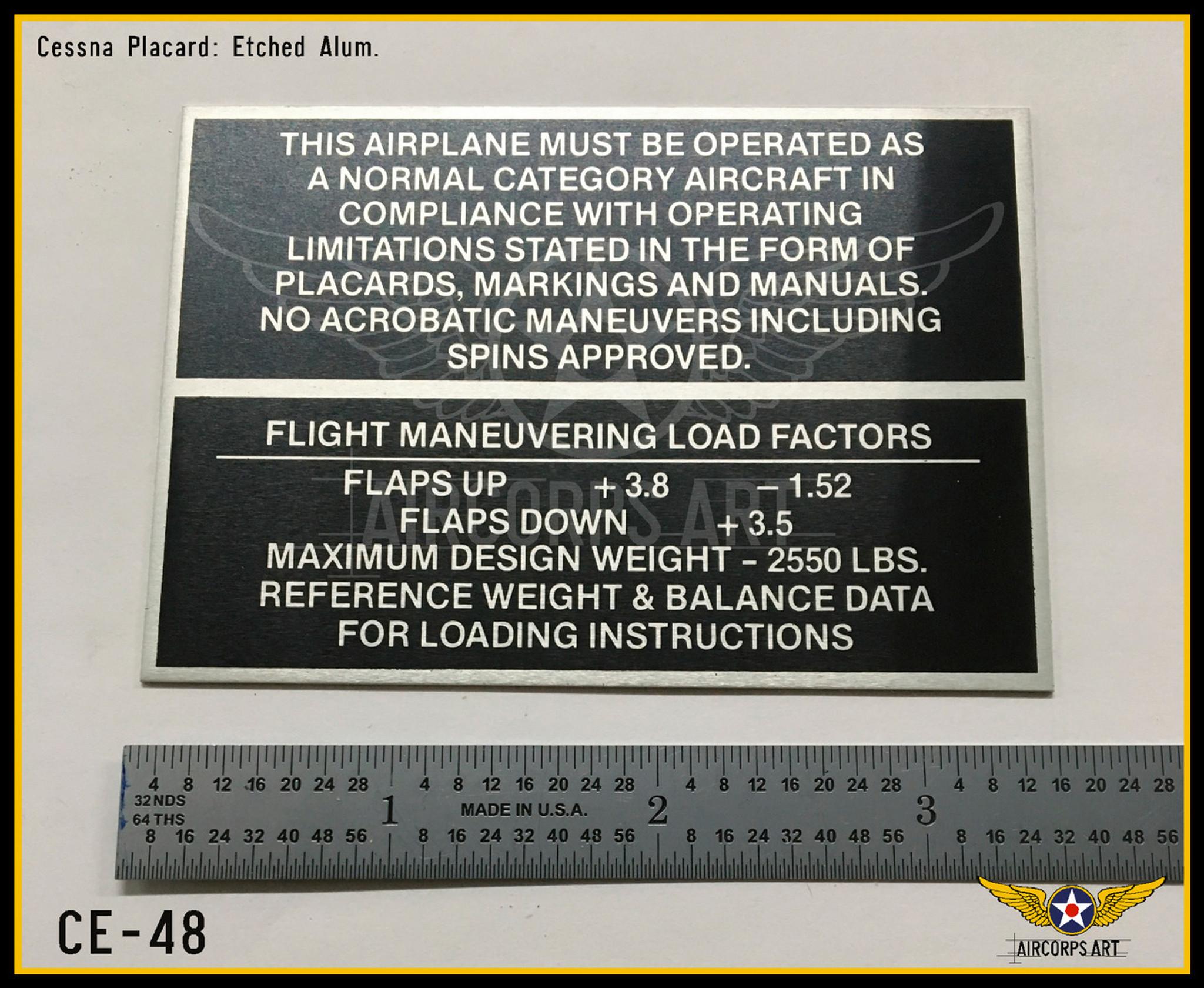 Cessna Operating Limitations Placard , CE-48